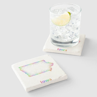 Rainbow Iowa map Stone Beverage Coaster