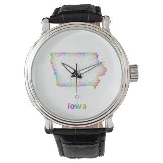 Rainbow Iowa map Wristwatch
