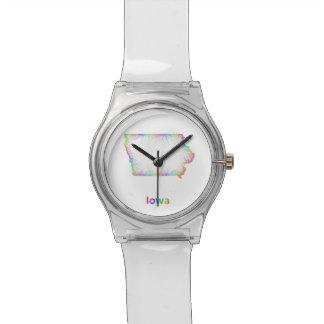 Rainbow Iowa map Wristwatches