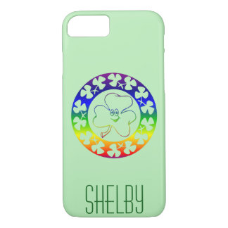 Rainbow Irish | Monogram Clovers Luck of the Irish iPhone 8/7 Case