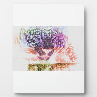 Rainbow Jaguar Cat Design Plaque