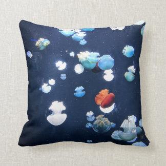 Rainbow Jelly Fish  Monogram Throw Pillow