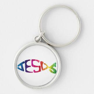 Rainbow JESUS fish Silver-Colored Round Keychain
