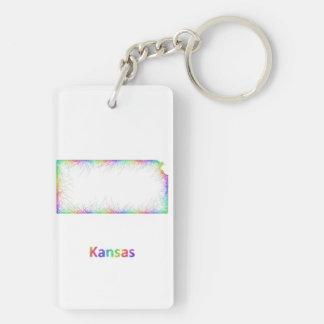 Rainbow Kansas map Double-Sided Rectangular Acrylic Keychain