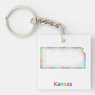 Rainbow Kansas map Single-Sided Square Acrylic Keychain
