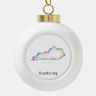 Rainbow Kentucky map Ceramic Ball Ornament