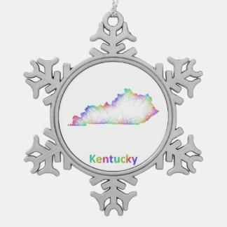 Rainbow Kentucky map Pewter Snowflake Ornament