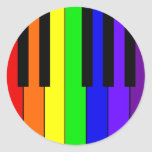 Rainbow Keyboard Round Sticker