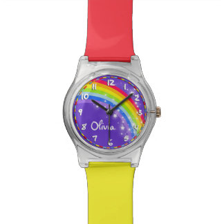 Rainbow kids named purple multi-coloured watch