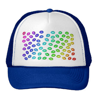 RAINBOW KISSES LIPS PATTERN COLORFUL FASHION BEAUT TRUCKER HAT