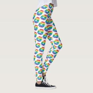 Rainbow Kissy Lips Prints on White Leggings