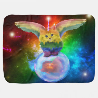 Rainbow Kitten Space Bubble Fish Whimsical Blanket Receiving Blankets