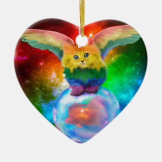 Rainbow Kitten Unicorn Gold  Fish Space Buddies Ceramic Ornament