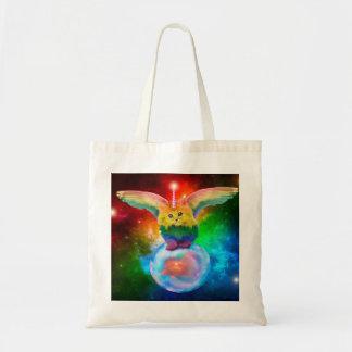 Rainbow Kitten Unicorn Gold  Fish Space Buddies Tote Bag