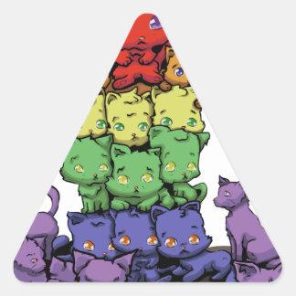 Rainbow Kittens Triangle Sticker