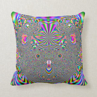 Rainbow Koala Bear Fractal Print Throw Pillow