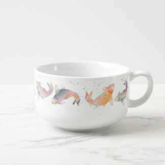 Rainbow Koi Fish Swimming In Blue Bubbles Soup Mug
