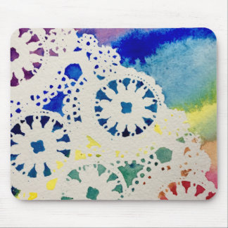 Rainbow Lace/Tie-Dye Watercolor Print Mousepad