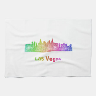 Rainbow Las Vegas skyline Towels