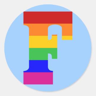 Rainbow Letter F Classic Round Sticker
