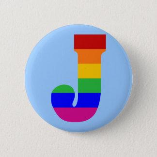 Rainbow Letter J 2 Inch Round Button