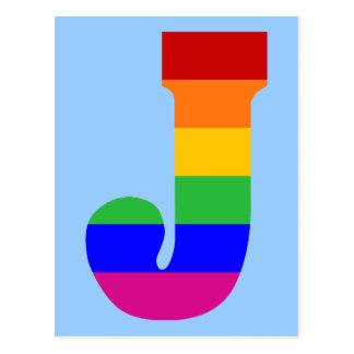Rainbow Letter J Postcard