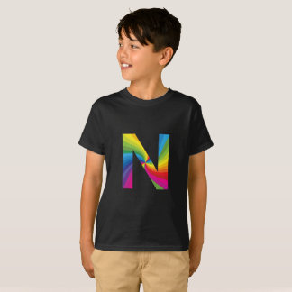 Rainbow Letter 'N for Kids' Hanes TAGLESS® T-Shirt