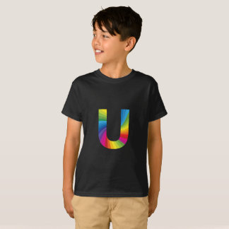 Rainbow Letter 'U for Kids' Hanes TAGLESS® T-Shirt