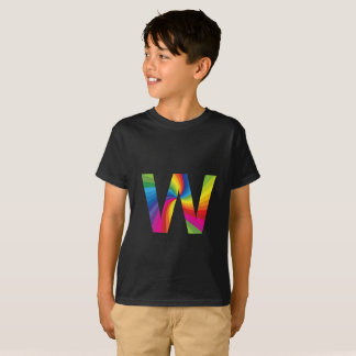 Rainbow Letter 'W for Kids' Hanes TAGLESS® T-Shirt