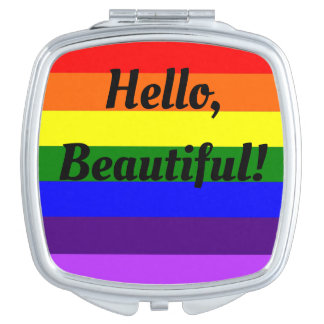 Rainbow LGBT Compact Mirror Hello Beautiful