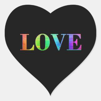 Rainbow LGBT Love Black Colors Heart Stickers
