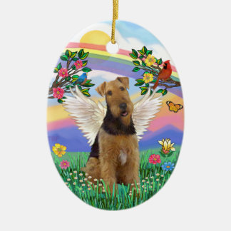 Rainbow Life - Airedale Angel Ceramic Oval Ornament