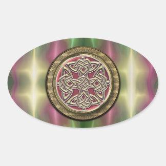 Rainbow Lights Gold Stone Celtic Shield Knot Oval Sticker