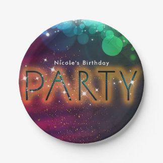 Rainbow Lights Sparkle Dance Club Birthday Party 7 Inch Paper Plate