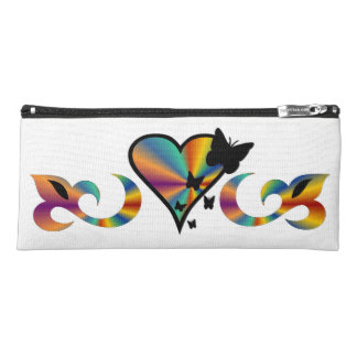 Rainbow Lily Heart and Butterfly Pencil Case
