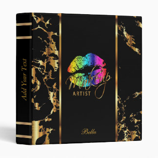 Rainbow Lips and Gold Marble 3 Ring Binders