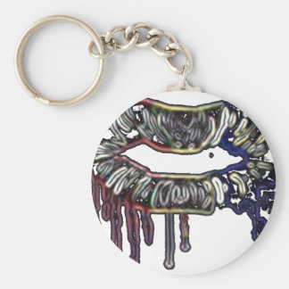 Rainbow lips design basic round button keychain