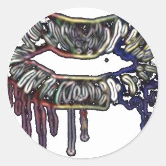 Rainbow lips design classic round sticker