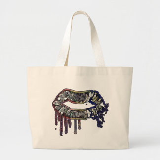 Rainbow lips design large tote bag