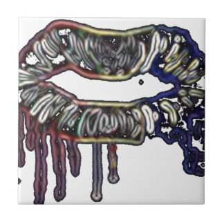 Rainbow lips design tile