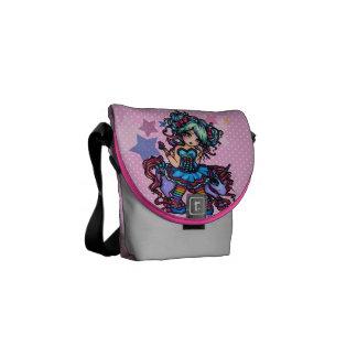 Rainbow Little Unicorn Fairy 80's Girl Star Pony Courier Bag