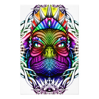 Rainbow Lizard King in Artistic Colorful Eye Frame Customized Stationery