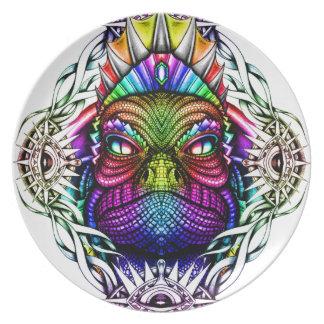 Rainbow Lizard King in Artistic Colorful Eye Frame Dinner Plate