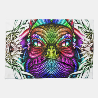 Rainbow Lizard King in Artistic Colorful Eye Frame Hand Towel