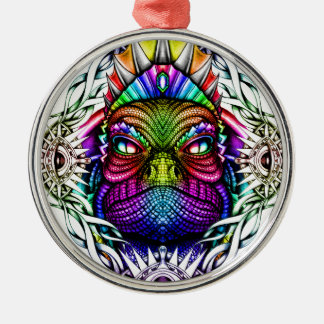 Rainbow Lizard King in Artistic Colorful Eye Frame Silver-Colored Round Ornament