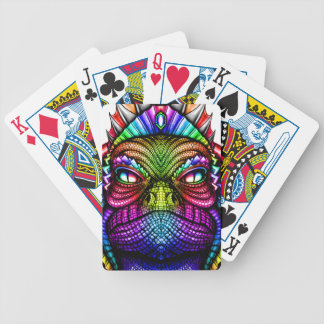 Rainbow Lizard King Wearing a Crown Trippy Bicycle Playing Cards