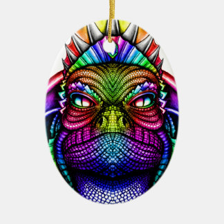 Rainbow Lizard King Wearing a Crown Trippy Ceramic Oval Ornament