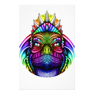 Rainbow Lizard King Wearing a Crown Trippy Customized Stationery