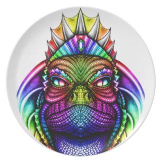 Rainbow Lizard King Wearing a Crown Trippy Plate