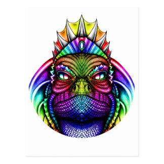 Rainbow Lizard King Wearing a Crown Trippy Postcard